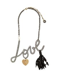 Lanvin | Metallic Love Swarovski Embellished Necklace | Lyst
