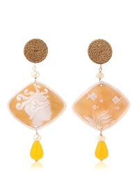 Anna E Alex - Yellow Marina Decò Cameo Earrings - Lyst
