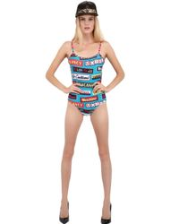 Moschino - Blue Signs Microfiber One Piece Swimsuit - Lyst
