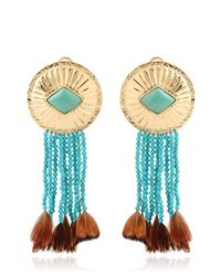 Aurelie Bidermann - Blue Feather-Detail Turquoise Earrings - Lyst