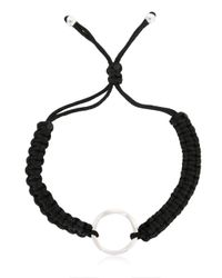 Montblanc - Black Cord Bracelet With Silver Ring - Lyst