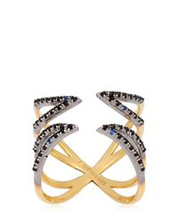 Katie Rowland - Metallic Twisted Cross Ring - Lyst