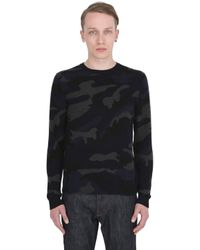 Valentino | Blue Camouflage Intarsia Cashmere Sweater for Men | Lyst