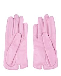 Mario Portolano | Pink Nappa Leather Gloves With Bow | Lyst