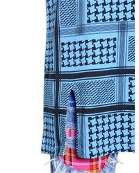 House of Holland - Blue Keffiyeh Check Cotton T-shirt Dress - Lyst