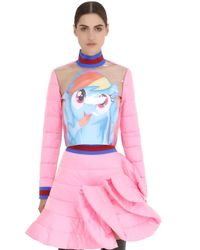 Fyodor Golan | Pink Pony Printed Plastic & Quilted Satin Top | Lyst