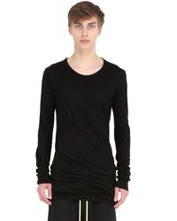 Rick Owens - Black Double Cotton Jersey Long Sleeve T-shirt for Men - Lyst
