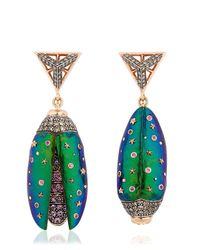 Bibi Van Der Velden | Blue Scarab Drop Earrings | Lyst