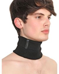 Gtie - Gray Wool Rib Knit Collar for Men - Lyst