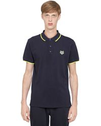 KENZO - Blue Cotton Pique Tiger Crest Polo for Men - Lyst