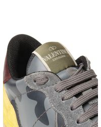 Valentino - Gray Rockrunner Canvas & Leather Sneakers for Men - Lyst