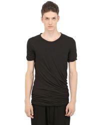 Rick Owens | Black Double Cotton Jersey T-shirt for Men | Lyst