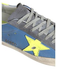 Golden Goose Deluxe Brand - Blue Super Star Suede & Leather Sneakers for Men - Lyst