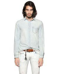 DIESEL | Blue Bleached Light Cotton Denim Shirt for Men | Lyst
