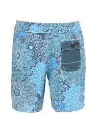 """Reef - Blue 18"""" Floral Printed Stretch Board Shorts for Men - Lyst"""