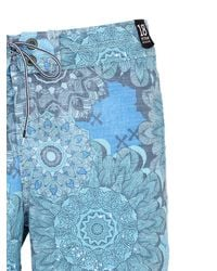 "Reef - Blue 18"" Floral Printed Stretch Board Shorts for Men - Lyst"