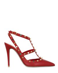 Valentino | Red 100mm Rockstud & Stones Leather Pumps | Lyst