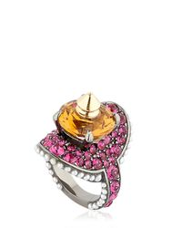 Gucci | Yellow Studded Ring With Swarovski Crystals | Lyst