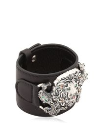 Gfase - Black Lion's Paradise Leather Cuff Bracelet - Lyst