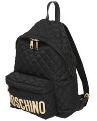 Moschino | Black Large Logo Quilted Nylon Backpack | Lyst