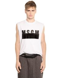 MSGM | White Logo Cotton Jersey Sleeveless T-shirt for Men | Lyst