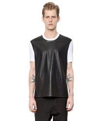 Neil Barrett | Black Faux Leather & Cotton Jersey T-shirt | Lyst