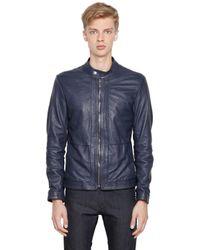 Bikkembergs - Blue Tumble Washed Leather Moto Jacket for Men - Lyst