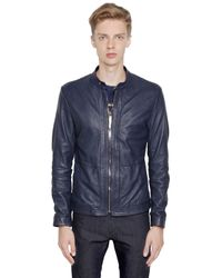 Bikkembergs | Blue Tumble Washed Leather Moto Jacket for Men | Lyst