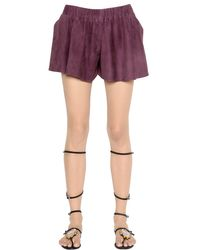 DROMe | Purple Suede Leather Shorts | Lyst