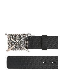John Richmond | Black Skull Buckle On Woven Leather Belt for Men | Lyst