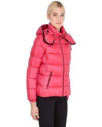 Moncler Red Berre Nylon Leger Brillant Down Jacket