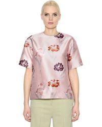 Rochas | Pink Iris Printed Duchesse Top | Lyst