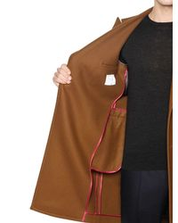 Boglioli - Brown Double Breasted Wool Blend Twill Coat for Men - Lyst