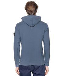 Stone Island - Blue Hooded Cotton Sweatshirt for Men - Lyst