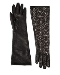 DSquared² | Black Studded Napa Leather Gloves | Lyst