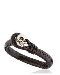 Alexander McQueen - Black Braided Leather Bracelet With Skull for Men - Lyst