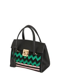 Ferragamo - Green Mini Mara Zigzag Suede & Leather Bag - Lyst