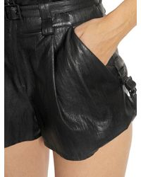 Just Cavalli - Black Faux Leather High Waisted Shorts - Lyst