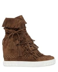 Casadei | Multicolor 100mm Fringed Suede Wedge Ankle Boots | Lyst
