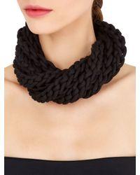 Alienina - Black Altrove Brass & Cotton Braided Necklace - Lyst