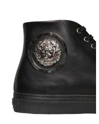 Versus  - Black Lion Leather High Top Sneakers for Men - Lyst