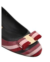 Ferragamo - Multicolor 40mm Fosca Leather & Suede Pumps - Lyst