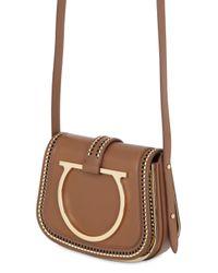 Ferragamo | Brown Large Sabine Stitched Leather Bag | Lyst