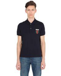 Gucci | Blue Crest Patch Stretch Cotton Piqué Polo for Men | Lyst