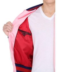Gucci - Pink Embroidered Silk Satin Duchesse Bomber Jacket for Men - Lyst