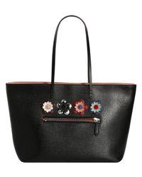 Fendi | Black Roll Floral Embellished Leather Bag Tote | Lyst