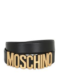 Moschino | Metallic 35mm Logo Lettering Leather Belt for Men | Lyst