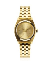 Nixon - Metallic Small Time Teller Gold Finish Watch - Lyst
