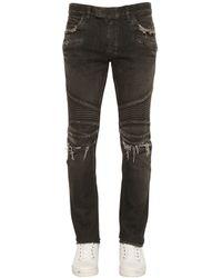 Balmain | Black 16.5cm Biker Faded Stretch Denim Jeans for Men | Lyst