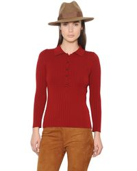 Trussardi   Red Wool Wide Rib Knit Sweater With Collar   Lyst